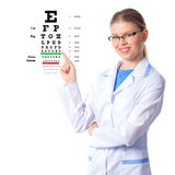 Woman Doctor with chart. Young optician woman doctor looking through eyeglasses isolated on white background Royalty Free Stock Image