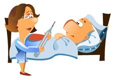 Woman doctor checks up a patient stock illustration