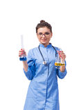The woman doctor doing chemical tests isolated on white Royalty Free Stock Images