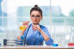 The woman doctor doing chemical tests in laboratory Royalty Free Stock Images