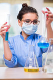 The woman doctor doing chemical tests in laboratory Stock Photos