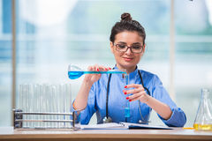 The woman doctor doing chemical tests in laboratory Stock Image