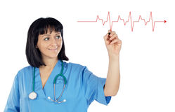 Woman doctor drawing a graphic Stock Photos
