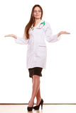 Woman doctor with empty hands palms copyspace. royalty free stock photos