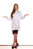 Woman doctor with empty hands palms copyspace. stock image