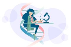 Woman doctor examines DNA microscope. Woman doctor scientist examines human DNA using microscope. Vector illustration Royalty Free Stock Photo