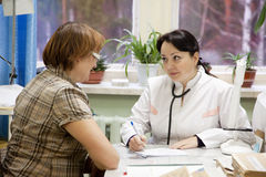 Woman doctor examining  patient Royalty Free Stock Photos