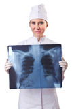 Woman doctor examining x-ray Royalty Free Stock Image