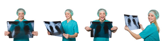 Woman doctor examining x-ray image Royalty Free Stock Photo
