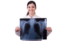 Woman doctor examining x-ray Royalty Free Stock Photography