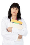 Woman doctor with file Royalty Free Stock Photography