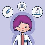 Woman doctor with first aid icons. Vector illustration Royalty Free Stock Photo
