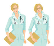 Woman doctor in formal gown with different hairstyle Royalty Free Stock Photography