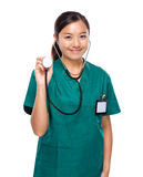Woman doctor hold with stethoscope Royalty Free Stock Image