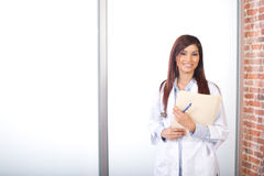 Woman Doctor Holding A Chart Royalty Free Stock Photography