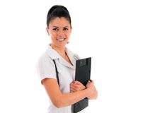 Woman doctor holding white file in shis hand Royalty Free Stock Image
