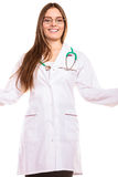 Woman doctor in lab coat. Health insurance. Woman in lab coat. Female smiling doctor with stethoscope isolated on white background Royalty Free Stock Images