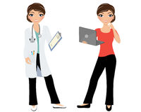 Woman doctor. In lab coat with stethoscope and clip board and in plain clothes with laptop Stock Images