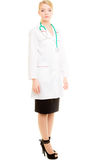 Woman doctor in lab coat with stethoscope. Medical Stock Images