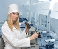 Woman the doctor in laboratory Royalty Free Stock Photography