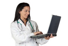 Woman doctor with laptop Royalty Free Stock Photos