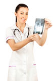 Woman doctor is looking X-ray. isolated Stock Photography