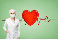 Woman doctor in a mask and a heart beat. Portrait of a woman doctor wearing a uniform and a mask. There is a stethoscope on her shoulders. Green wall with a royalty free stock photos