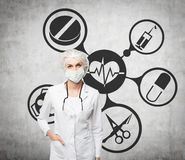 Woman doctor in a mask and medical icons Stock Images