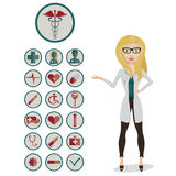 Woman doctor with medical icons. Health and medical icon set with the woman doctor. Vector icons for video , mobile applications , web sites and print projects Royalty Free Stock Image