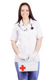 Woman doctor with a medical kit. Isolation. Stock Photos