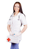 Woman doctor with a medical kit. Isolation. Royalty Free Stock Photos