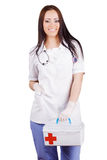 Woman doctor with a medical kit. Isolation. Stock Photography