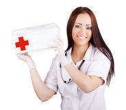 Woman doctor with a medical kit. Isolation. Stock Images