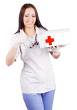 Woman doctor with a medical kit. Isolation. Royalty Free Stock Images