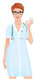 Woman doctor in a medical lab coat showing sign ok Stock vector Stock Photo