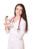 Woman doctor with medication Royalty Free Stock Image