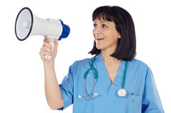 Woman doctor with megaphone Stock Photos