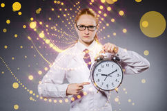 The woman doctor missing her deadlines Royalty Free Stock Photography