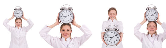 The woman doctor missing her deadlines Royalty Free Stock Image