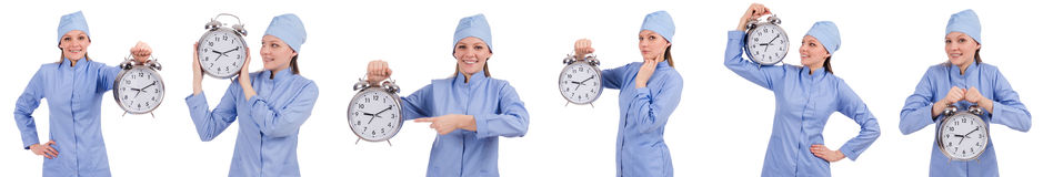 The woman doctor missing her deadlines Royalty Free Stock Photo