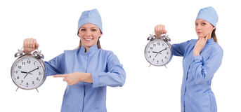 The woman doctor missing her deadlines Royalty Free Stock Images