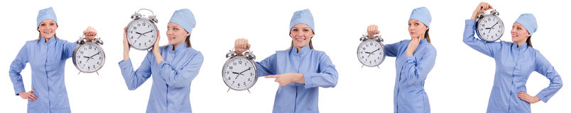 The woman doctor missing her deadlines Royalty Free Stock Photos