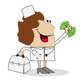Woman doctor with money in hand Stock Images
