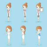 Woman doctor and nurse. Cartoon beauty woman doctor and nurse on the blue background Royalty Free Stock Photo