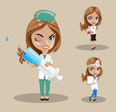 Woman doctor or nurse in a vector, Set of three female doctors in different poses, vector illustration Stock Images
