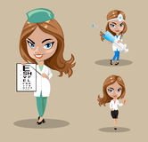 Woman doctor or nurse in a vector, Set of three female doctors in different poses, vector illustration Stock Photography