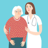Woman doctor and and old lady. Careful cartoon woman doctor and and old lady.Health care and medical  illustration for your design Royalty Free Stock Photography
