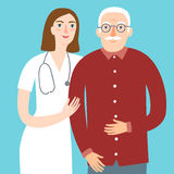 Woman doctor and and old man. Careful cartoon woman doctor and and old man.Healthcare and medical  illustration for your design Stock Photos