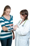 Woman Doctor and Patient with Broken Arm Royalty Free Stock Images