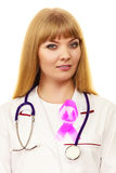 Woman doctor with pink ribbon aids symbol Stock Images